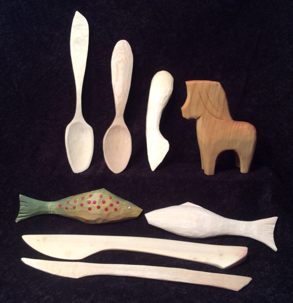 Carving and decorating wooden spoons